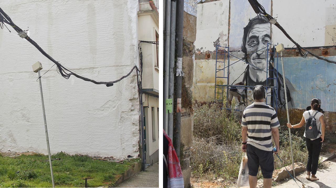 A la derecha, el mural de Luis «O fojeteiro», y a la izquierda, la pared como luce actualmente tras haber sido aislada y repintada de blanco