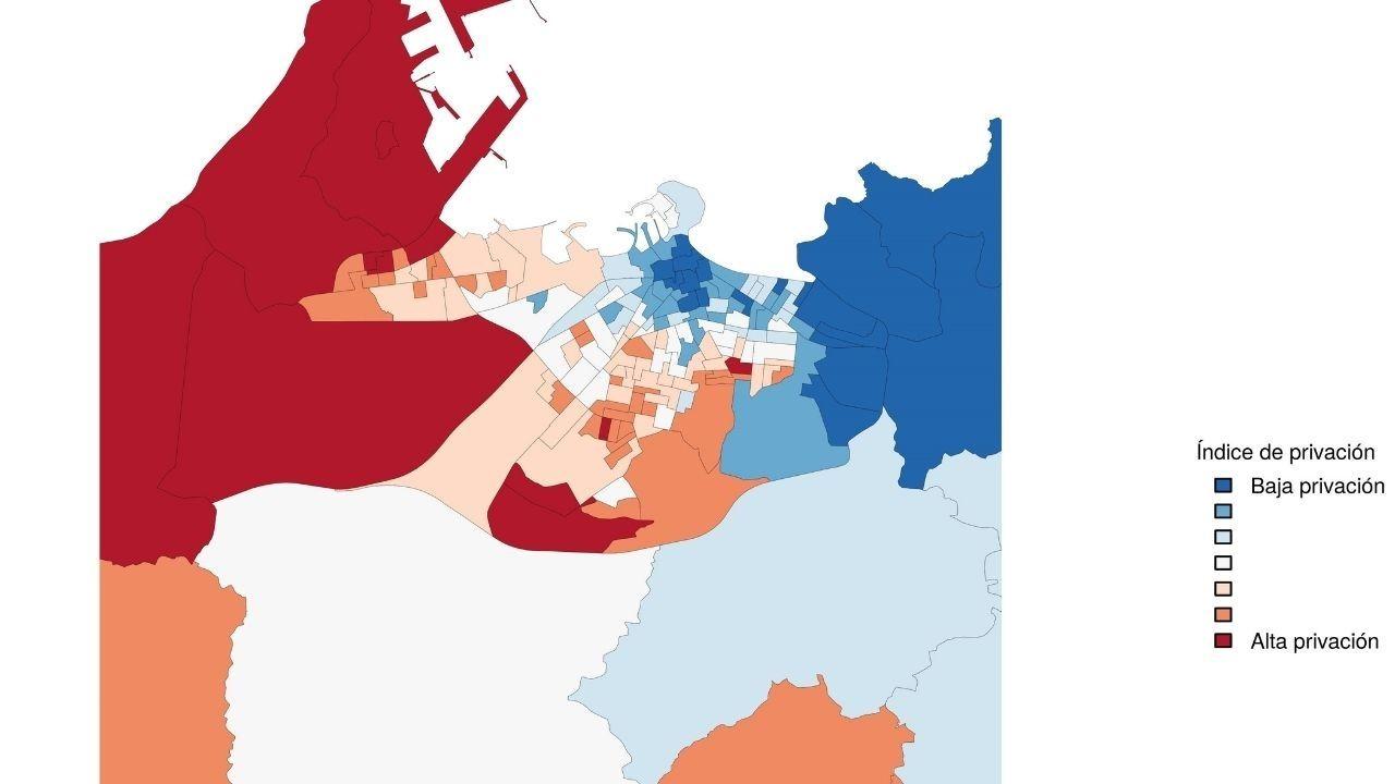 Índice de Privación por barrios en Gijón