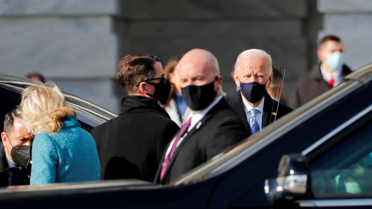 Llegada de Joe Biden al acto de investidura