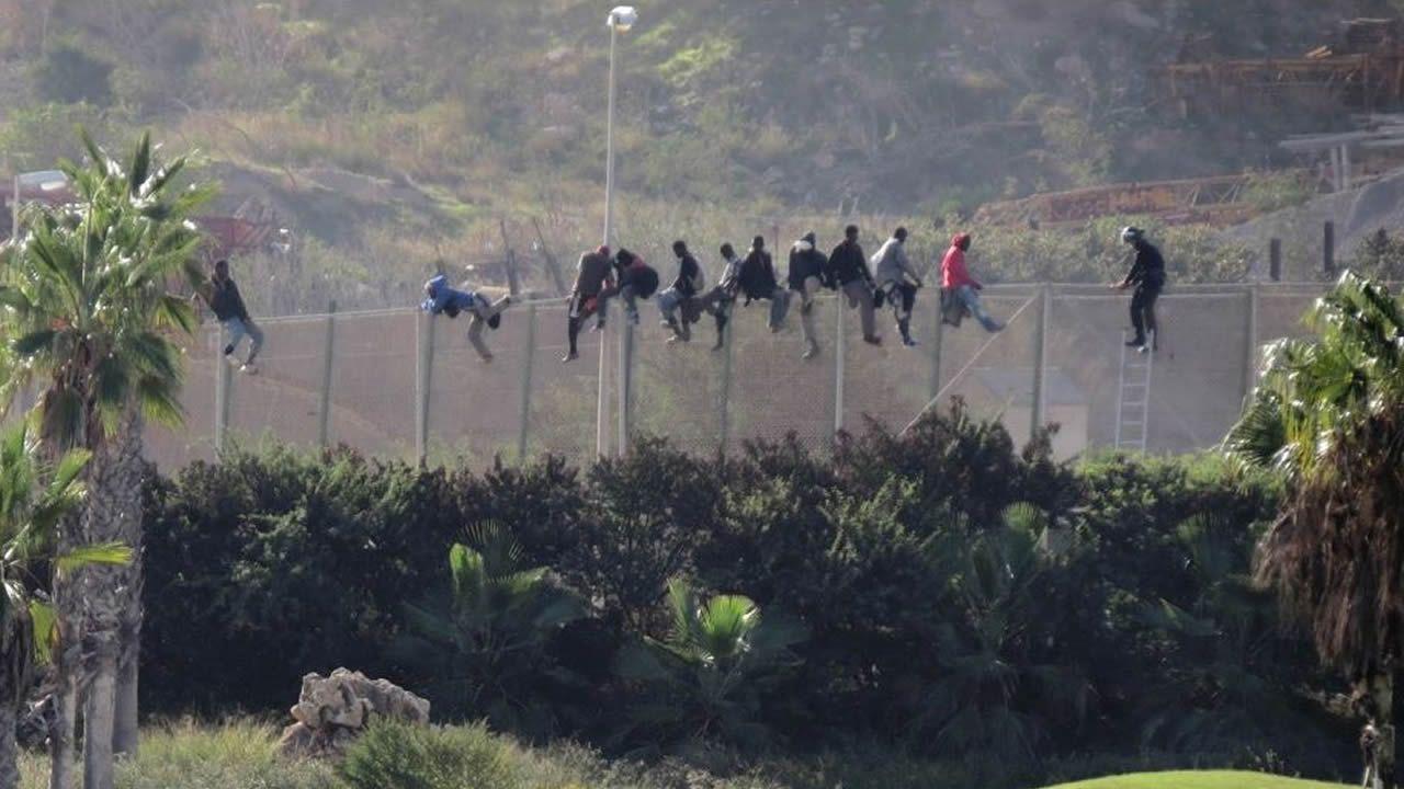 Inmigrantes en la valle de Melilla en el año 2018