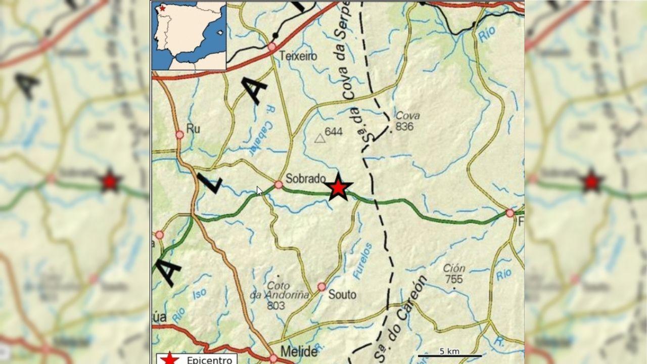 Mapa del Instituto Geográfico Nacional que marca el epicentro del terremoto