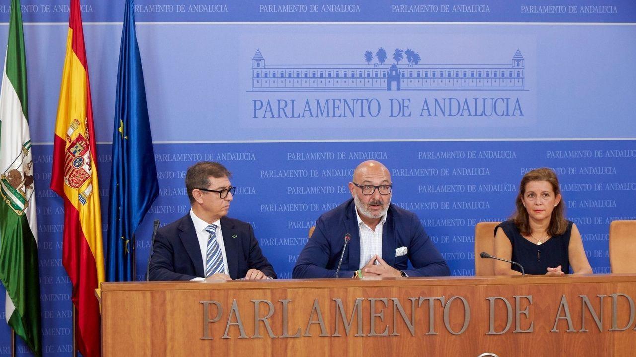 María Jose Piñeiro, a la derecha, en un acto con ya sus excompañeros de Vox en el parlamento andaluz