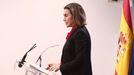 La portavoz del PP en el Congreso, Cuca Gamarra, hoy en una rueda de prensa