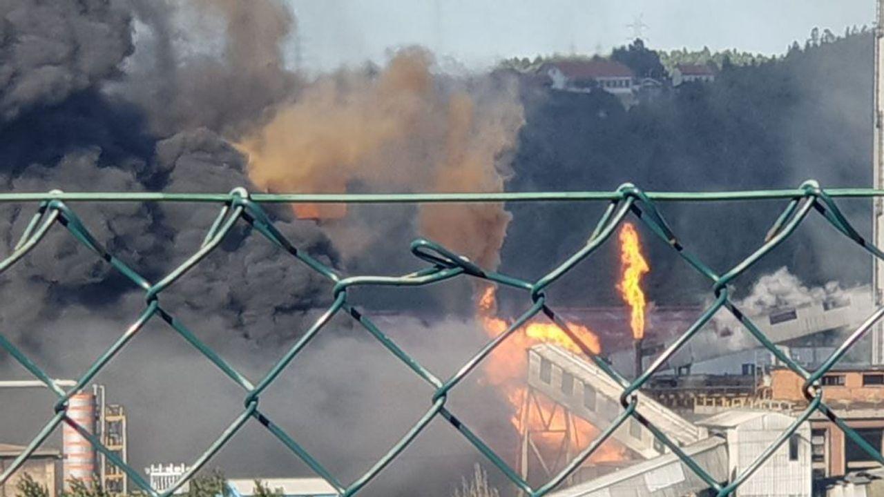 Todas las imágenes del espectacular incendio de las baterías de cok.Humareda procedente del incendio de las baterías de cok de Arcelor Mittal en Avilés
