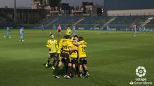 Los jugadores del Oviedo celebran el gol de Sangalli al Fuenlabrada
