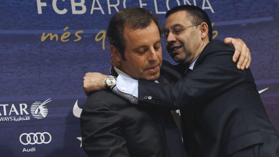 Algunos de los implicados en las tramas de corrupción de la FIFA.Rosell, a la izquierda, junto a Bartomeu