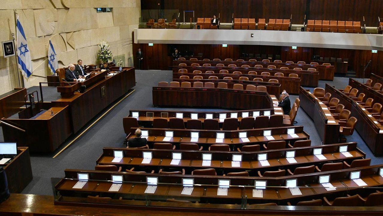 El presidente Reuven Rivlin, en la sesión del Parlamento semivacío este jueves