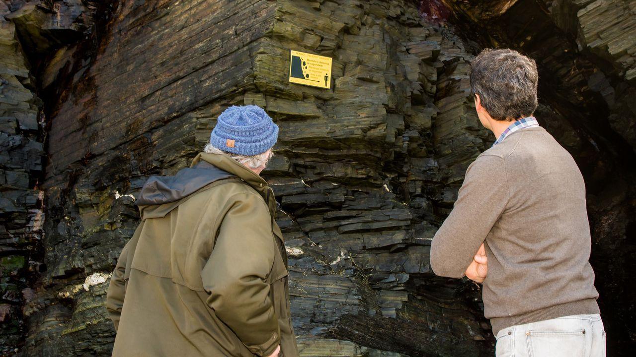Visitantes observando los nuevos carteles de advertencia colocados en el arenal