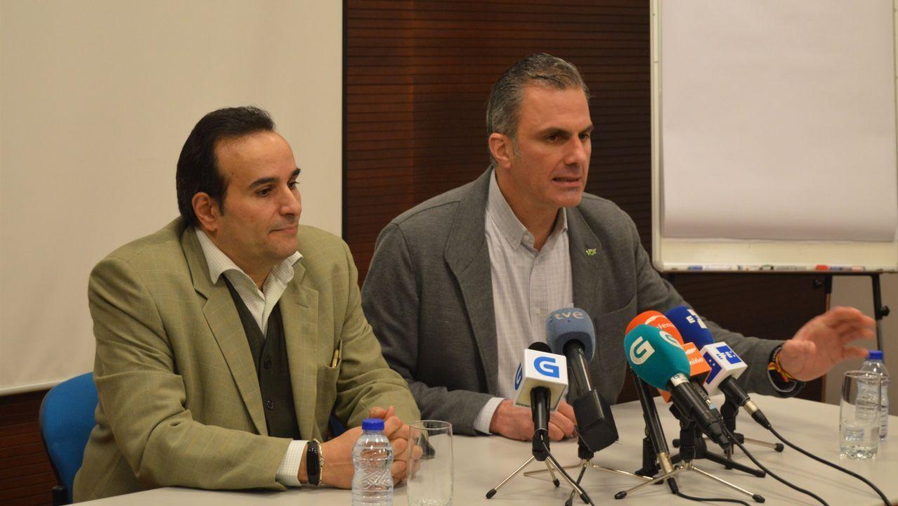 Todas las imágenes de la visita de Felipe VI a Boqueixón.El secretario general de Vox, Ortega Smith, en Ourense