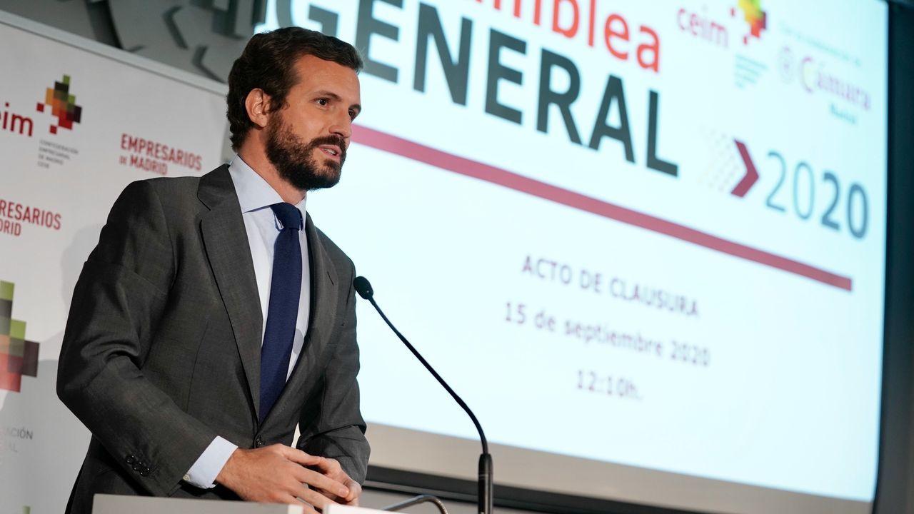 El Gobierno anuncia el inicio de la tramitación del indulto a los políticos presos independentistas.Pa blo Casado, este martes, en la asamblea de la Confederación Empresarial de Madrid