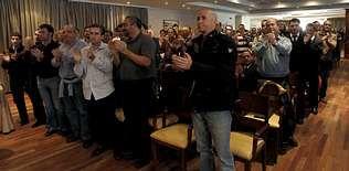 Una asamblea del Sepla en Iberia debatió ayer sobre las negociaciones con la aerolínea.