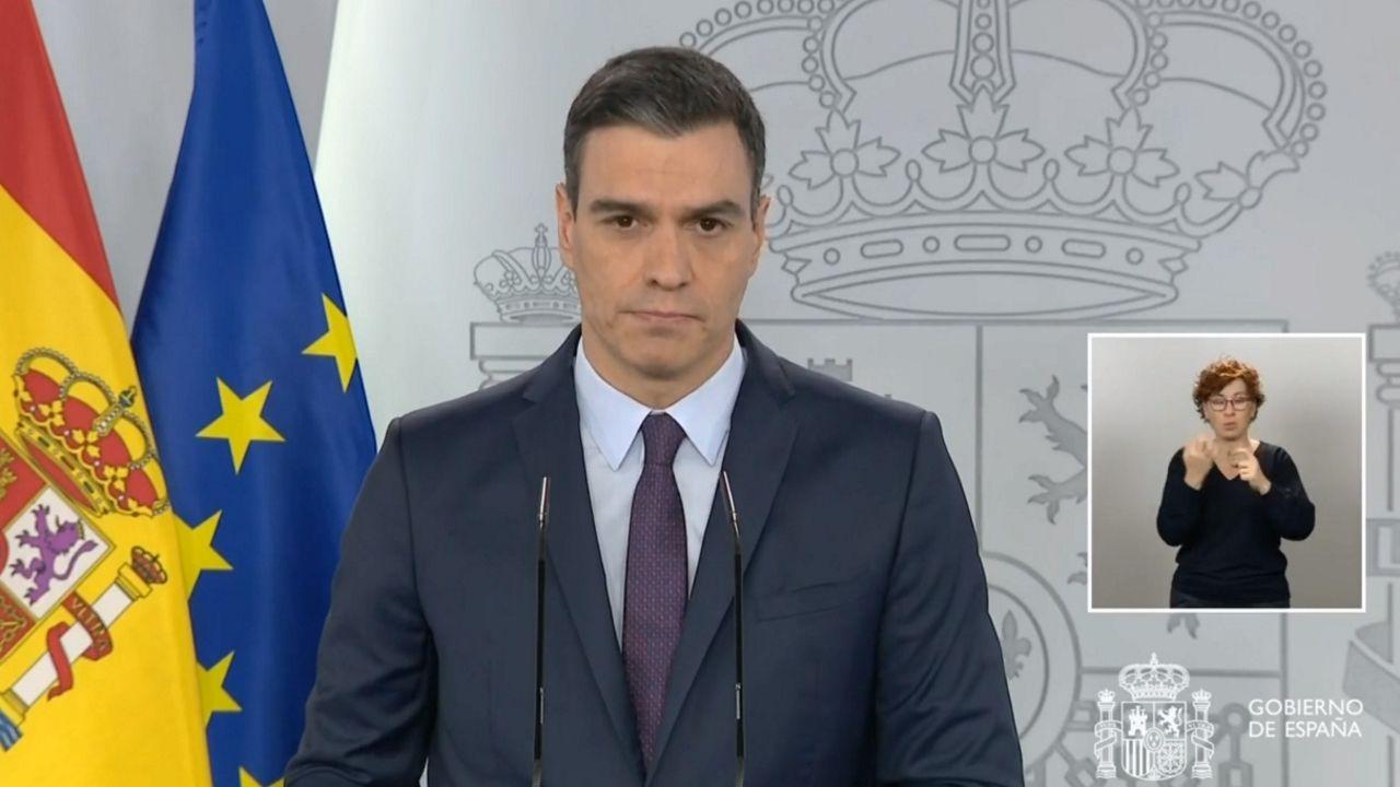 Rueda de prensade Pedro Sánchez.El presidente de la Xunta, Alberto Núñez Feijoo, durante la videoconferencia de los presidentes autonómicos con Pedro Sánchez
