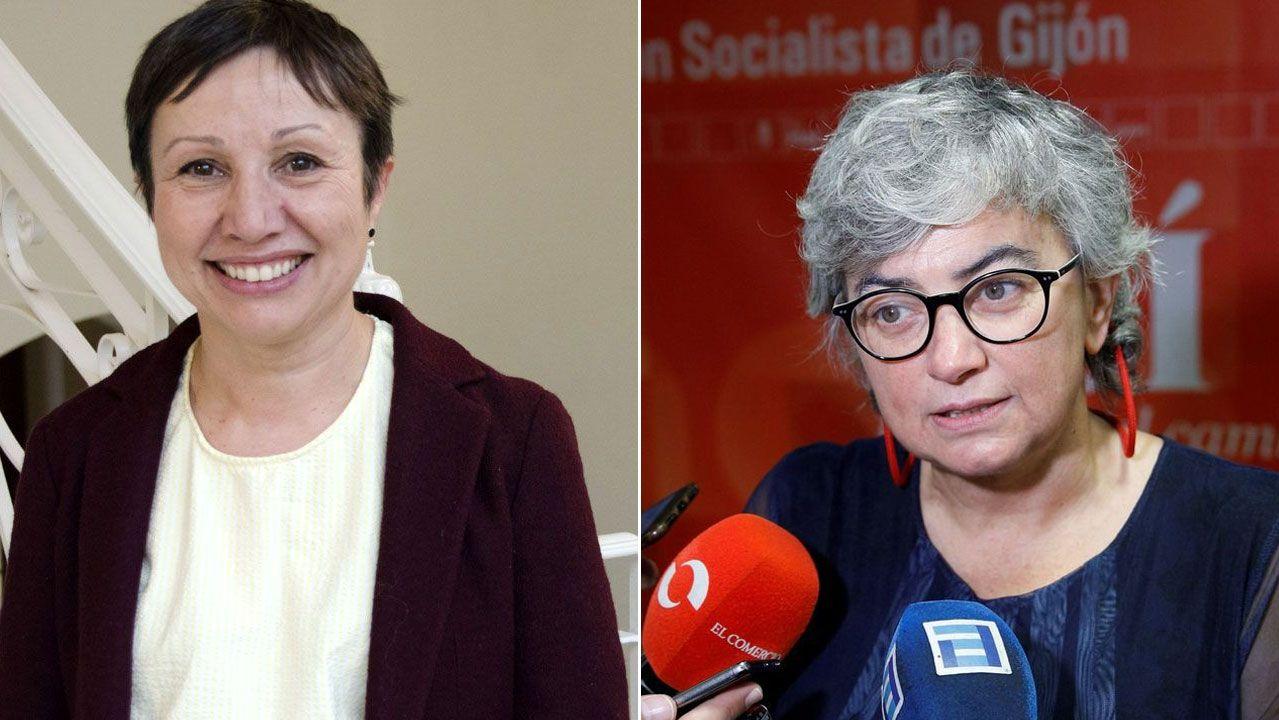 Estado en el que se encuentra la placa que recuerda a las mujeres fusiladas por el franquismo en Gijón, con la tierra removida en su base.Yolanda Huergo y Ana González