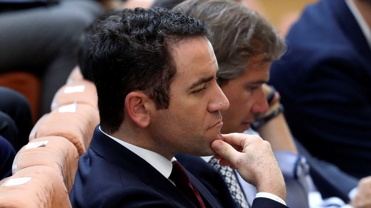 El secretario general del PP, Teodoro García Egea, este miércoles, en la Asamblea de Madrid