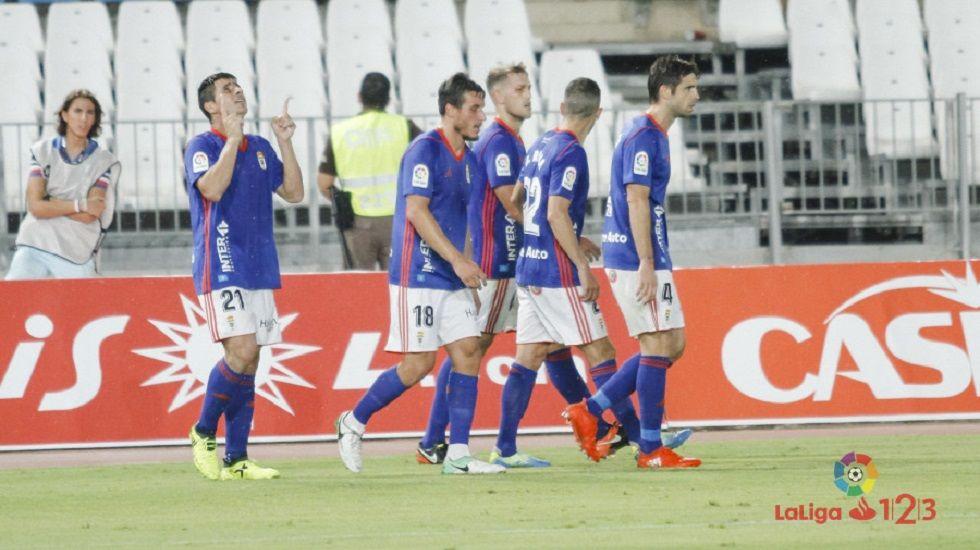 Adrián Barbón.Berjón, Christian, Carlos, Rocha y Verdés celebran el 0-1