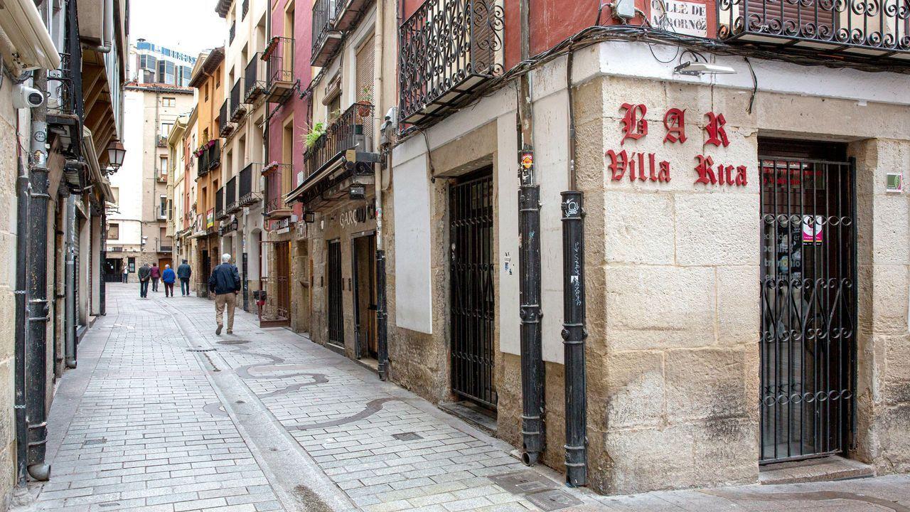 Calle Laurel, en Logroño, capital riojana, completamente vacía