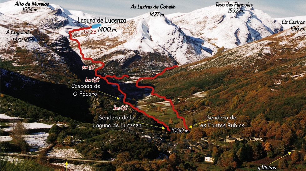Plano de la ruta que une la localidad de A Seara con la laguna de Lucenza