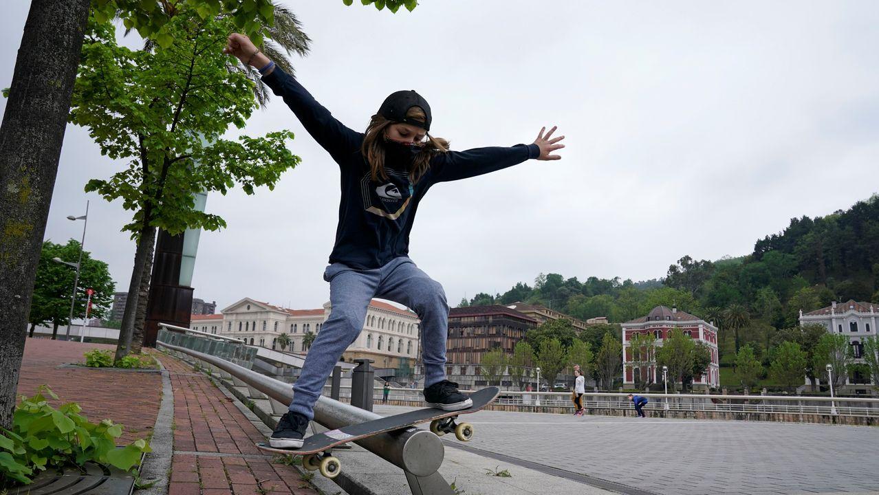 Egoitz Bijueska, de 9 años, hoy en el Guggenheim de Bilbao