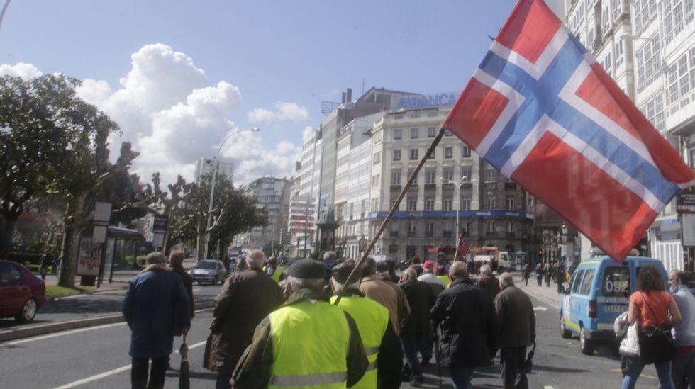 Manifestación de marineros que trabajaron en Noruega
