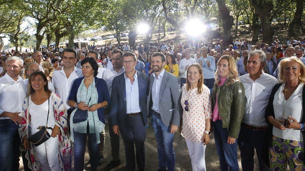 Pablo Casado acompañó a Alberto Núñez Feijoo en la apertura del curso político en Cotobade