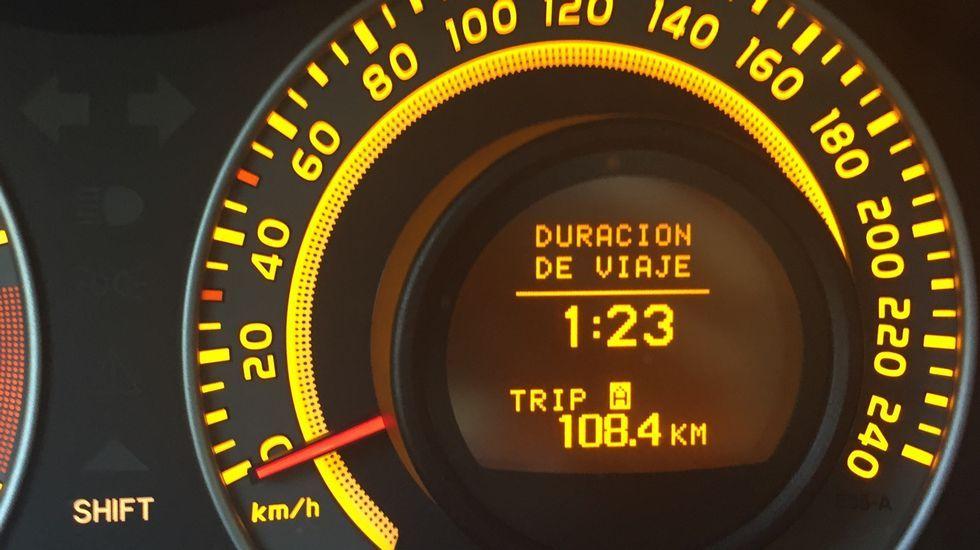 n120.Y Ourense, ¡por fin! Desde la salida de O Barco a la entrada de la ciudad hay 108,4 kilómetros, que precisaron de 1 hora y 23 minutos de viaje.