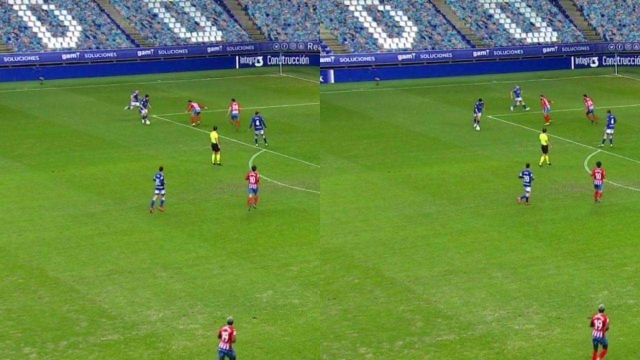 Ataque del Oviedo: 1-En la primera imagen, Borja recibe y Mossa aparece por detrás. 2-En la siguiente, Iriome y Campabadal son arrastrados por Mossa y liberan el espacio a Borja