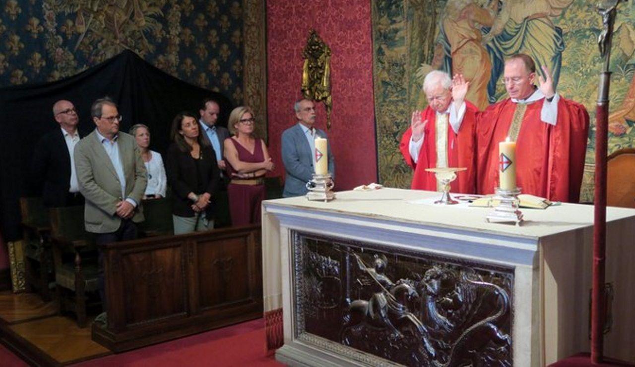 Quim Torra asiste a la primera misa del prior de la Generalitat