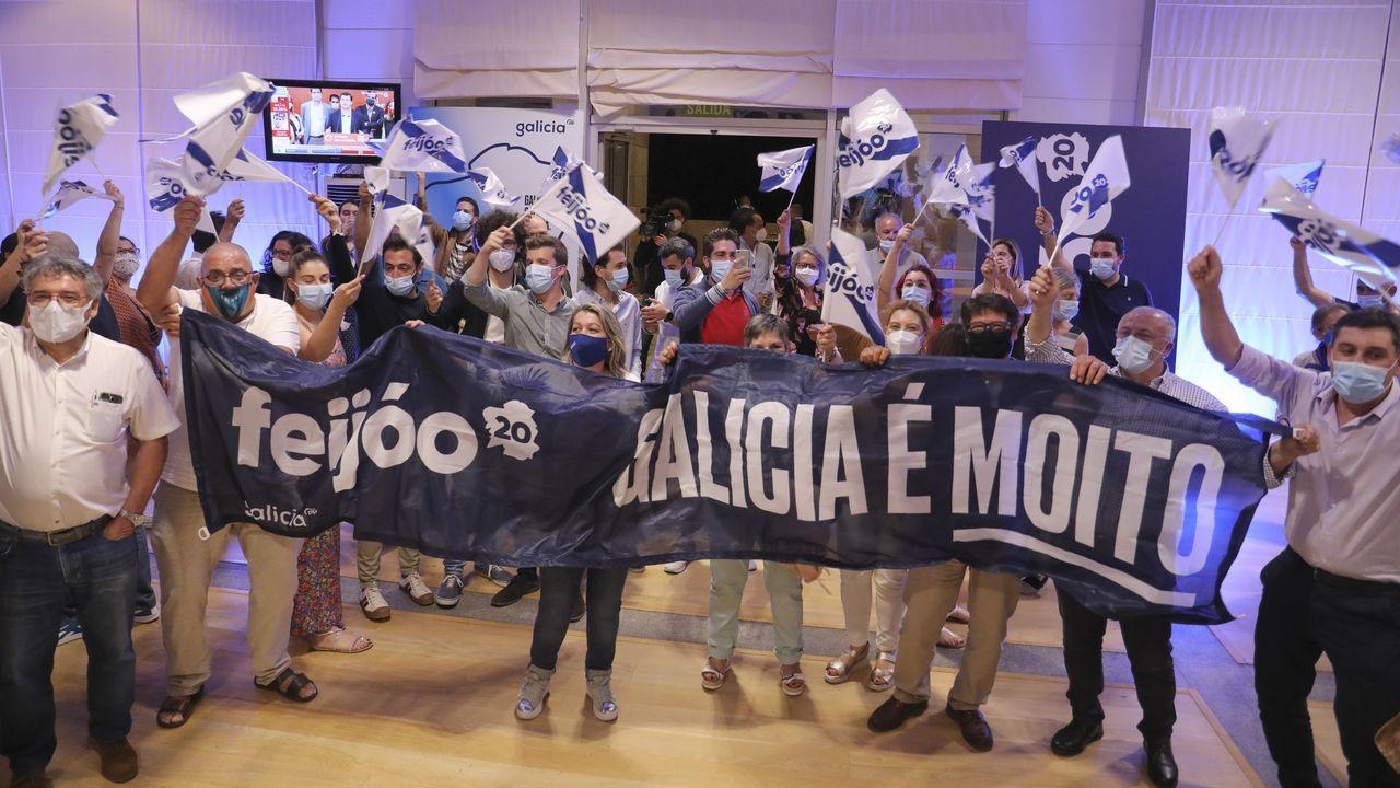 Celebración de los nacionalistas en Lugo por los resultados electorales