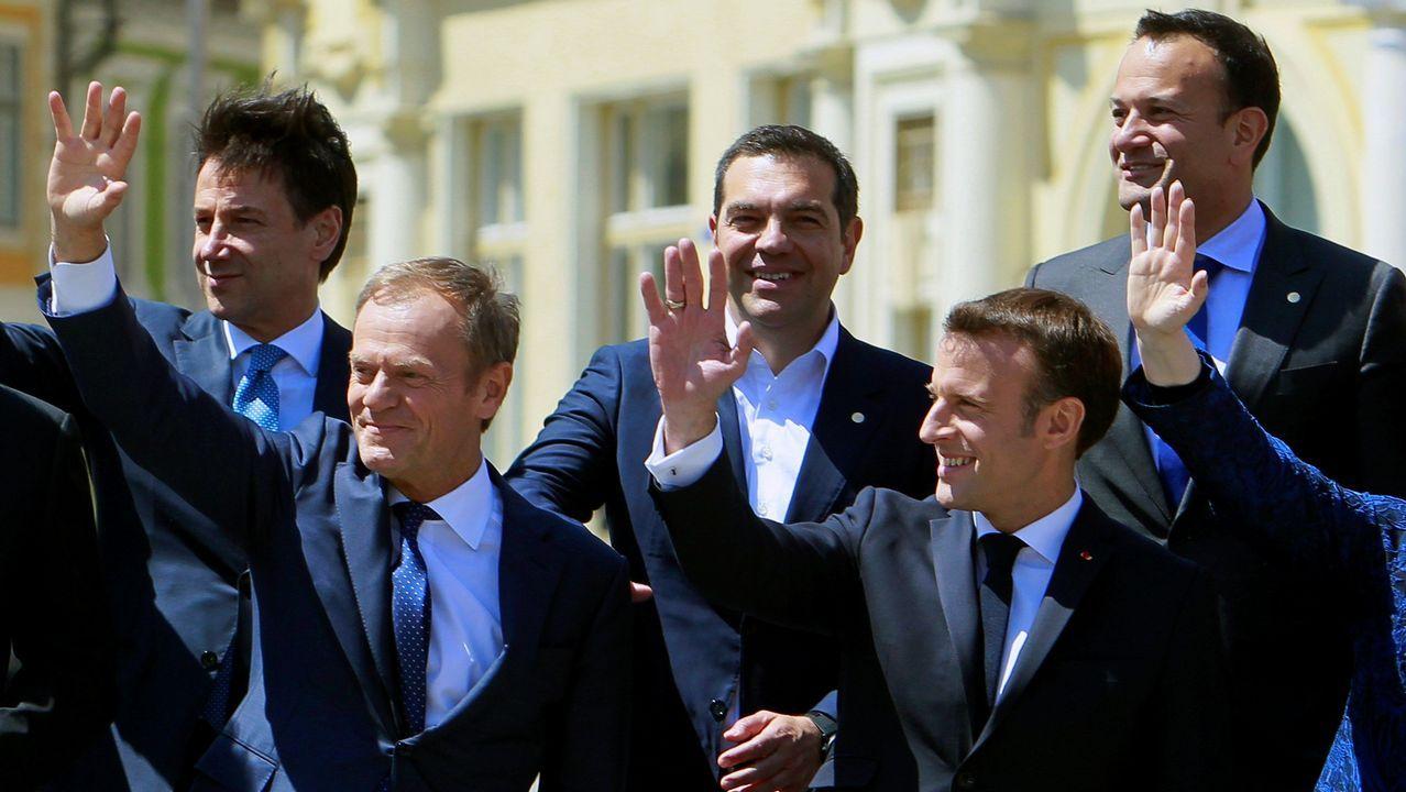 Conte, Tusk, Tsipras, Macron y Varadkar, en la foto de familia de la cumbre en Sibiu