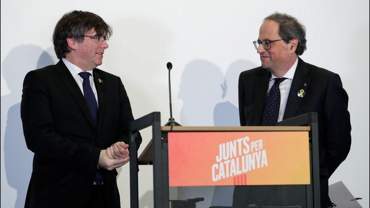 Torra, con Puigdemont, en su último encuentro en Waterloo, a donde el presidente catalán acude cada vez que tiene que tomar una decisión importante