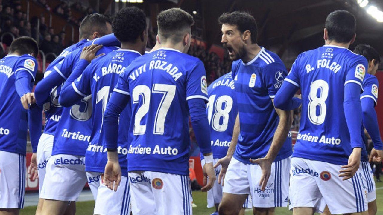 Gol Javi Hernandez Numancia Real Oviedo Los Pajaritos.Los futbolistas del Real Oviedo celebran el gol de Javi Hernández