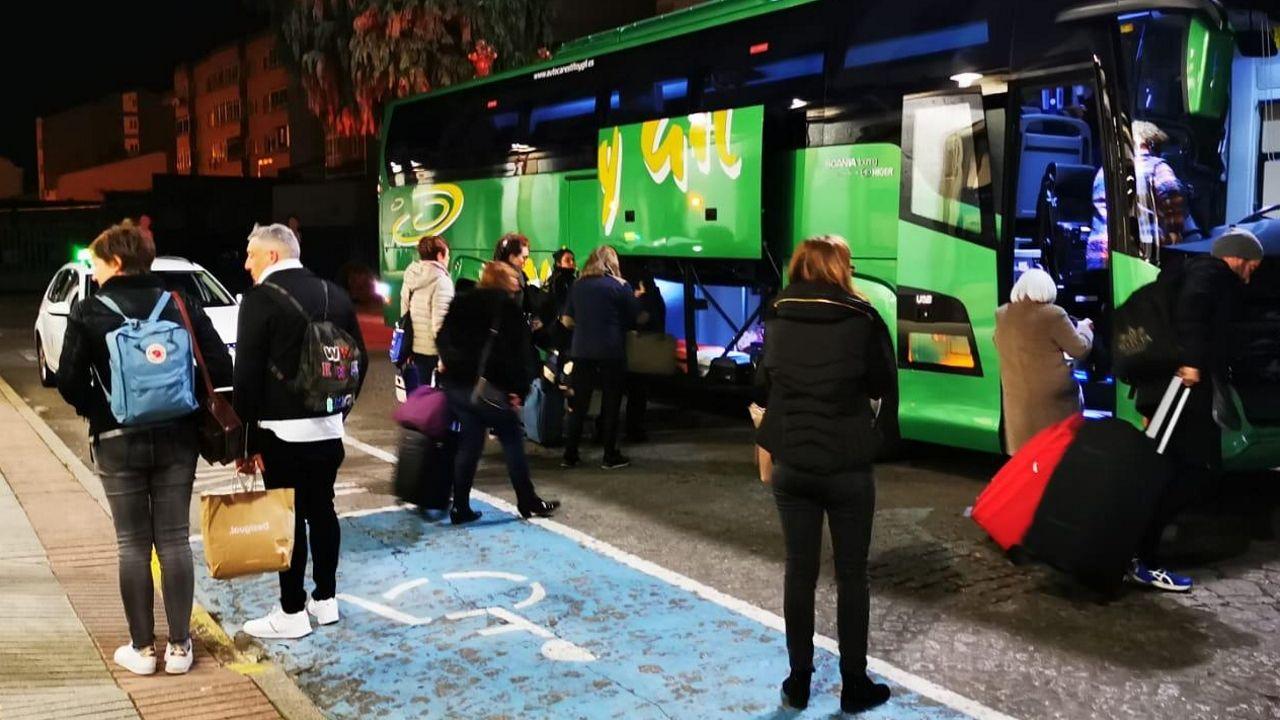 Traslado de los viajeros en autobus