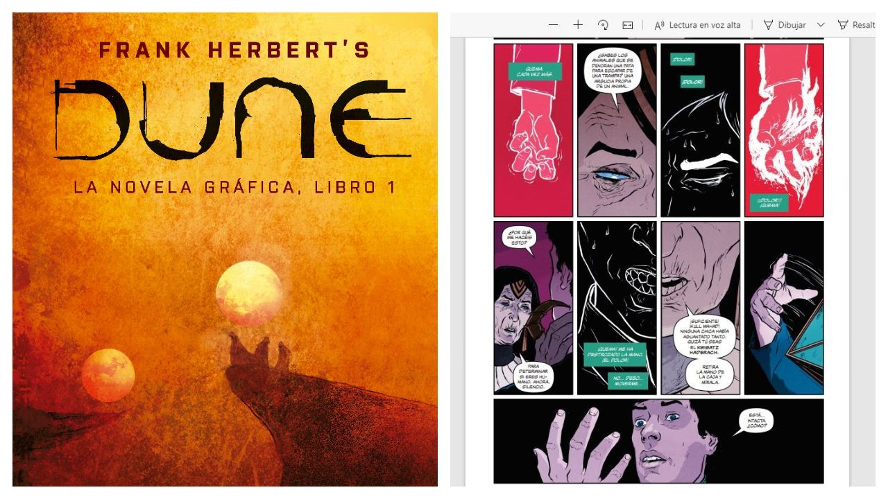 Interior y portada de la adaptación de Dune