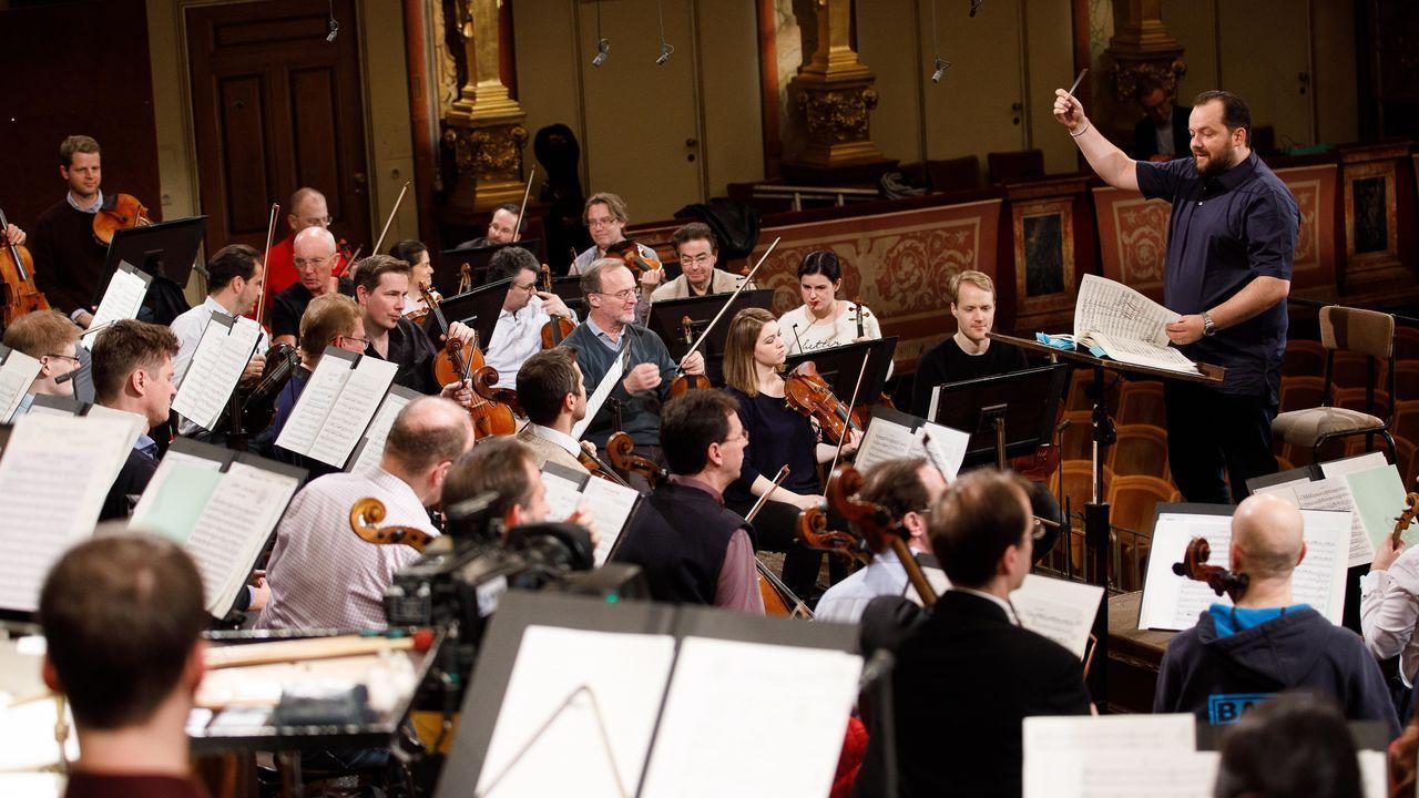 Un momento del ensayo el viernes pasado de Andris Nelsons con la orquesta vienesa