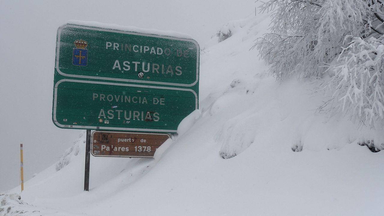Situación en los puertos de montaña entre Asturias y León. Vista de la nieve caída en ela zona limítrofe entre León y Asturias, en el Puerto de Pajares (León). El temporal de nieve y frío mantiene hoy en alerta a doce comunidades autónomas por temperaturas gélidas, intenso oleaje y nevadas en cotas muy bajas que dejarán hasta 30 centímetros de espesor, según informa la Agencia Estatal de Meteorología (Aemet) en su página web