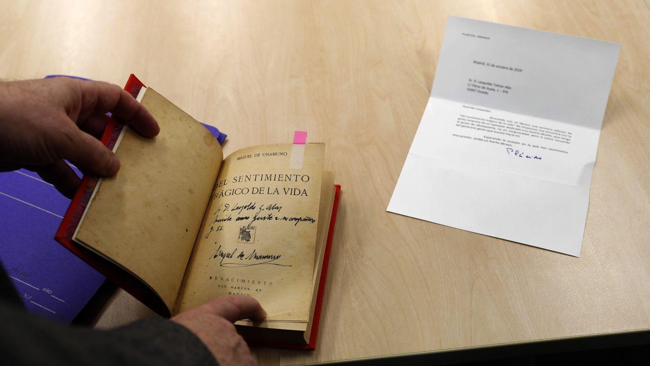 Una primera edición de la obra «Del sentimiento trágico de la vida», de Miguel de Unamuno, se ha reincorporado al «legado Clarín», en Oviedo