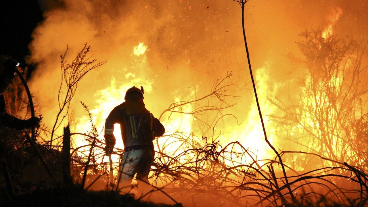 Incendio forestal en Carballo el pasado mes de abril