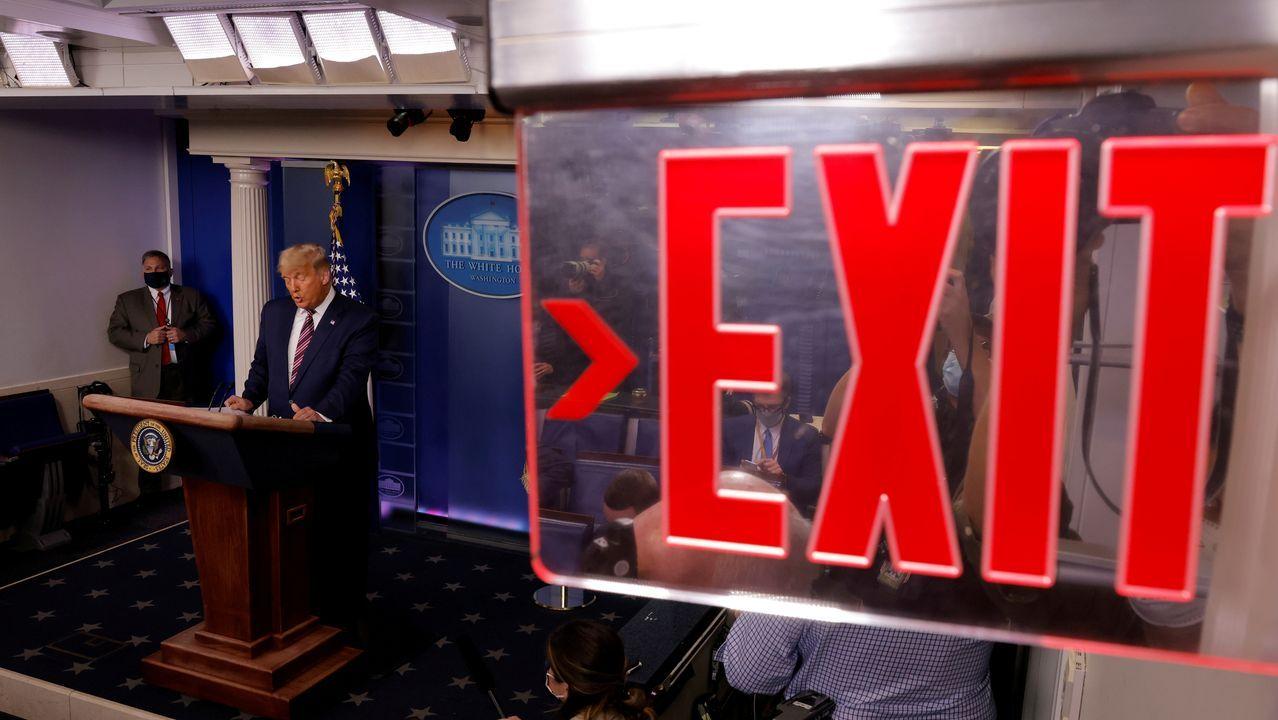 El presidente Trump, durante la rueda de prensa pronunciada anoche
