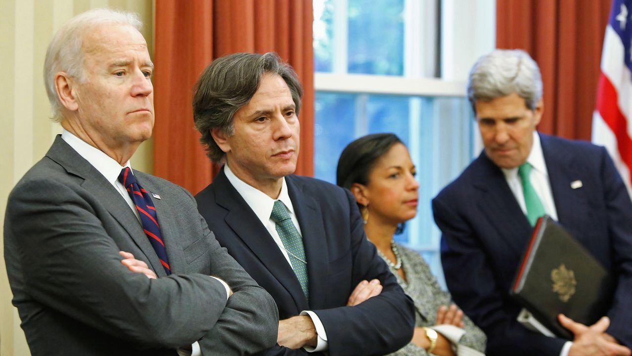 Joe Biden junto a Tony Blinken, Susan Rice y John Kerry en una imagen del 2013, cuando ocupaba el cargo de vicepresidente