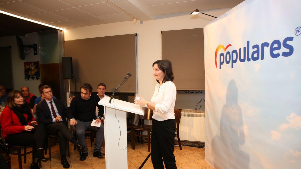 Visita de Feijoo a Vimianzo y Buño.Otegi, ayer, durante un acto político de Bildu antes de la emisión de la entrevista en TV3