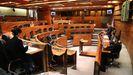 Pleno de la Junta General durante el Estado de Alarma, en Asturias a 6 de mayo de 2020