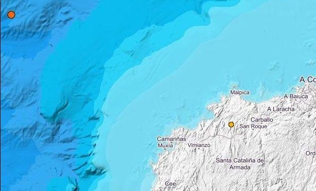 Los dos puntos naranja muestran las zonas de los temblores