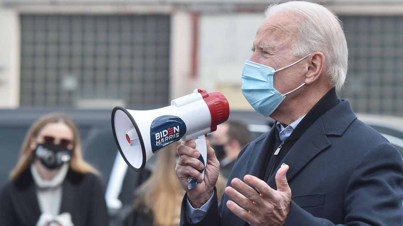 Biden, durante un mitin este lunes en Pensilvania