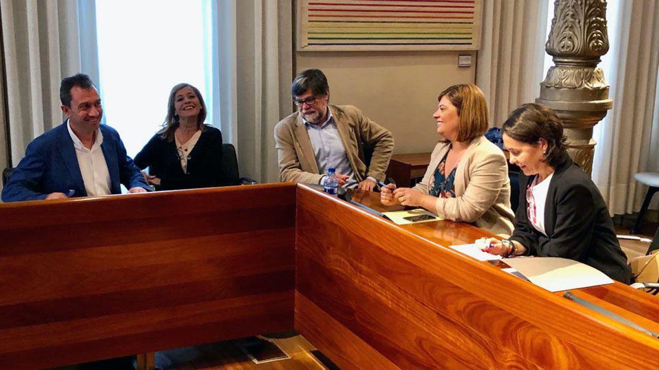 Dolores Carcedo, Gimena Llamedo, Ángela Vallina, Ovidio Zapico, Alberto Tirador.Los equipos negociadores de IU y PSOE