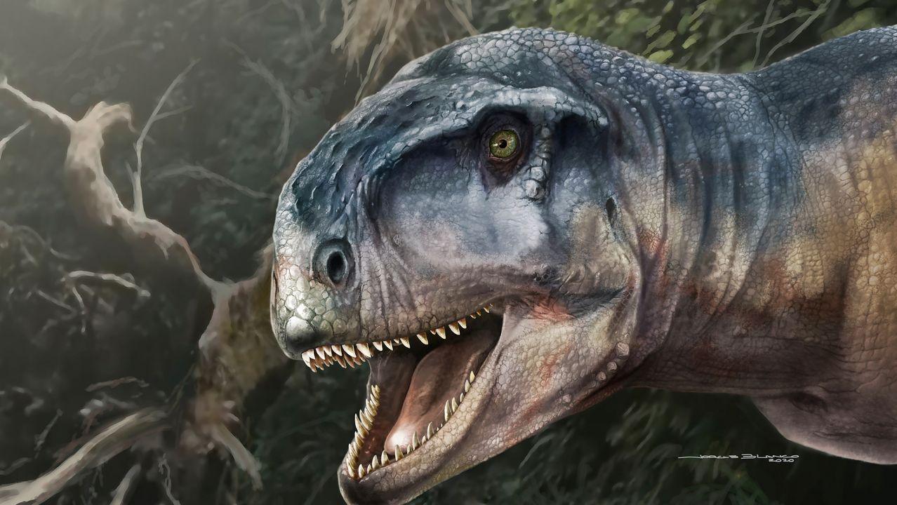 Así es el escaneo de la fuente de las Cuatro Estaciones de Betanzos.Recreación artística del dinosaurio carnívoro