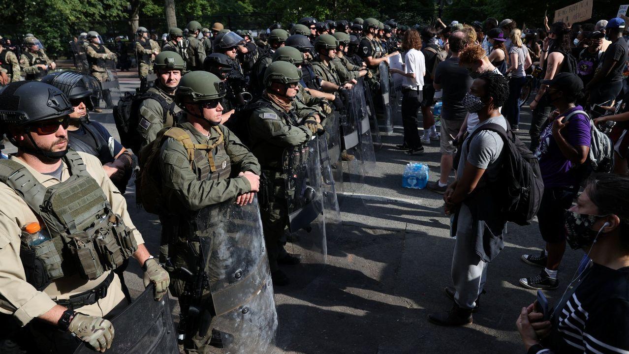 Miembros d ela Guardia Nacional, durante el despliegue en las inmediaciones de la Casa Blanca