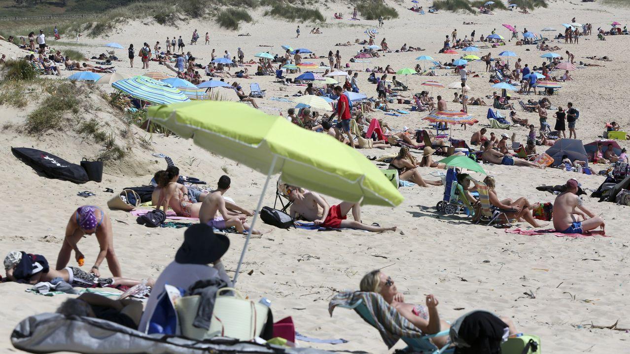 Playasen la provincia deA Coruña.En la playa de Doniños, en Ferrol, se respetaron las distancias durante el fin de semana