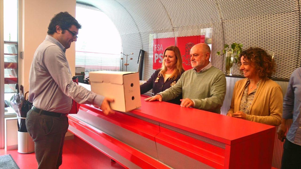 Pedro Sánchez escucha cómo Javier Fernández atiende a los medios de comunicación, durante una visita a Asturias.El representante de la precandidatura de Adrián Barbón, Óscar Pérez, entrga los avales a la Comisión de Garantias Electorales de la FSA