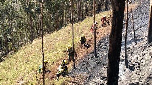 Labores de extinción en incendio forestal de Naves