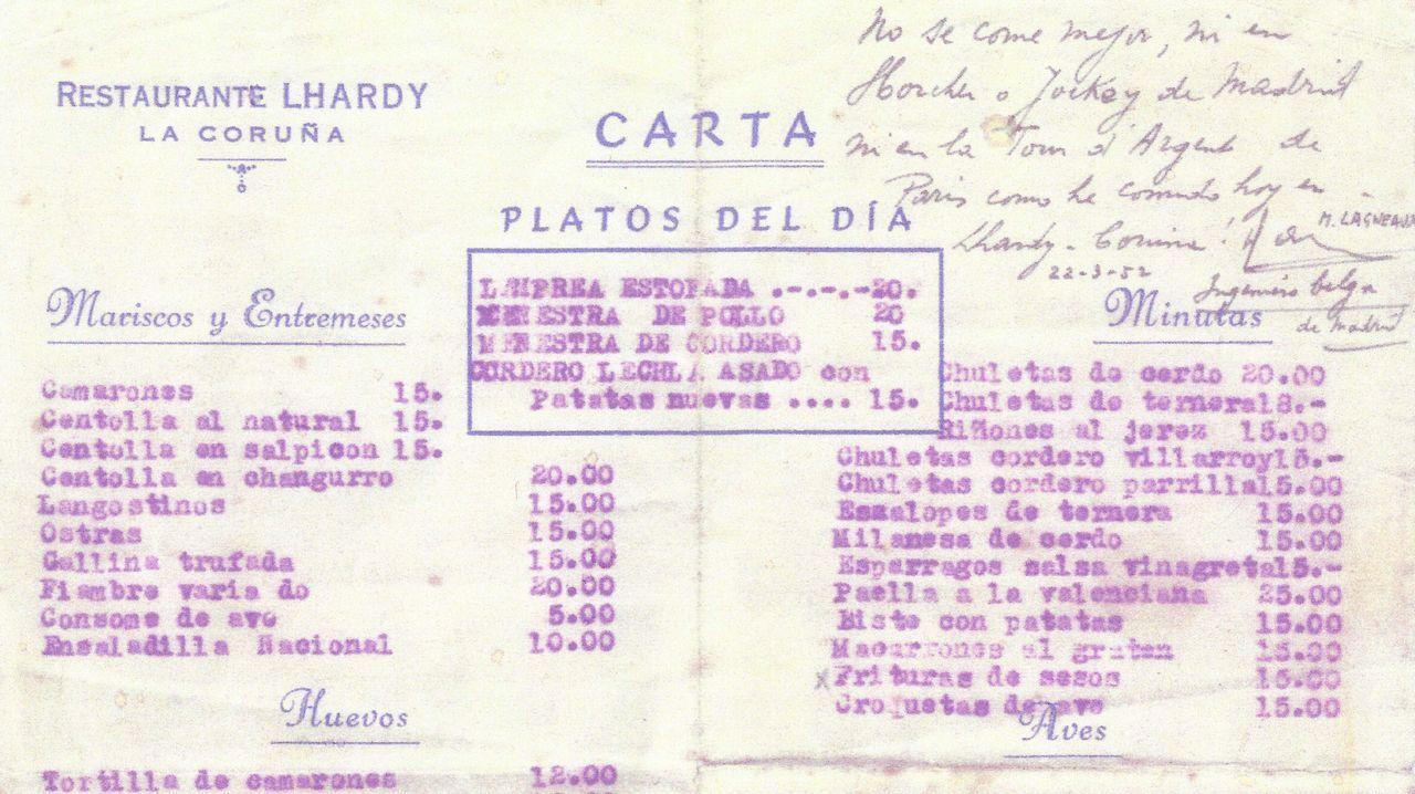 Carta del antiguo restaurante Lhardy de la calle Galera, en A Coruña